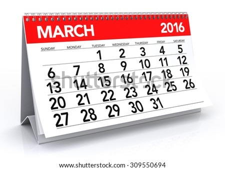 March 2016 Calendar. Isolated on White Background. 3D Rendering - stock photo
