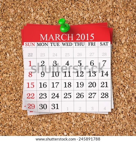 March  2015  Calendar on cork board , 3d render - stock photo