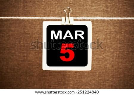 March 5 Calendar. Part of a set - stock photo