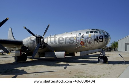 MARCH FIELD AIR MUSEUM, RIVERSIDE, CALIFORNIA, USA - March 17, 2016: Boeing B-29A Superfortress, USA - stock photo