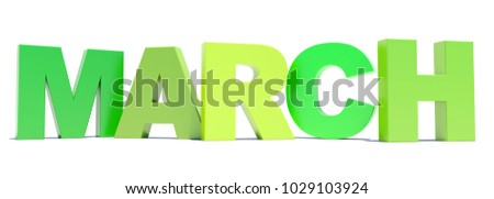 March green text title calendar background on white 3D render