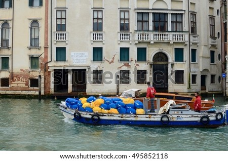March 12, 2013. Italy, Venice. Motor boat in Grand canal.