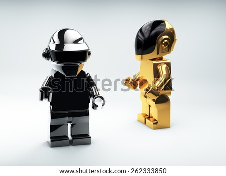MARCH 19, 2015: Lego mini figures as a group Daft Punk. 3d model - stock photo