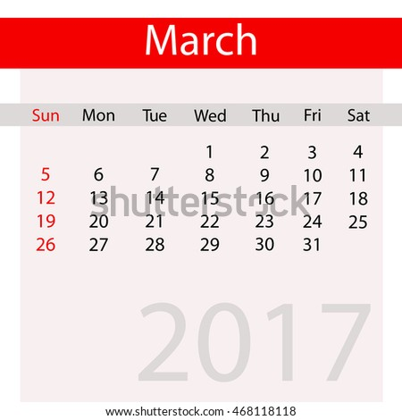 March Month of Business Contemporary Calendar for 2017