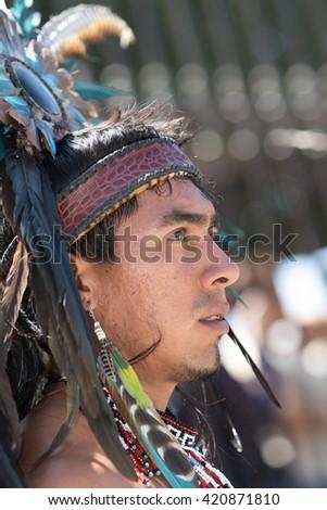 March 4, 2016, San Miguel de Allende, Mexico: profile portrait of an indigenous Mexican dancer  at  the Senior de la Conquista celebration - stock photo