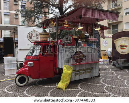 March 6, 2016 - Seregno (Italy) - Vehicles modified for the kitchen and the sale of street food.