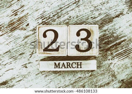March Twenty Three Calendar