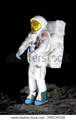 March 15, 2016 - Varese, Lombardy, Italy : Exhibit of single astronaut fitted with life support suit for display about moon exploration