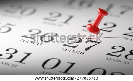 March 27 written on a calendar to remind you an important appointment.