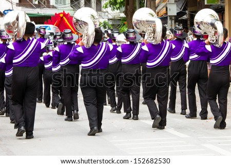 marching band during parade on the celebration - stock photo