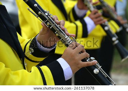 Marching band playing a clarinet closeup