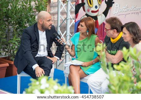 Marco D'Amore e Tullio De Piscopo on interview at Giffoni Film Festival 2016 - on July 17, 2016 in Giffoni Valle Piana, Italy.