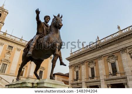 Marcus Aurelius statue on Piazza del Campidoglio in Rome, Italy - stock photo