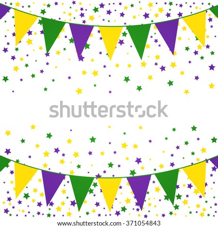 Mardi Gras bunting background with confetti stars.