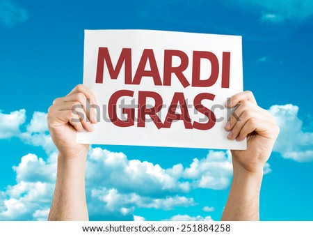 Mardi Gras card with sky background - stock photo
