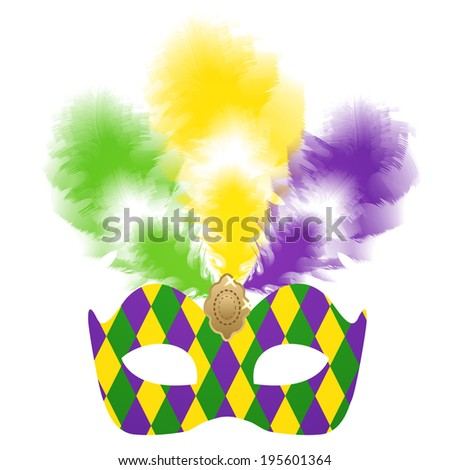 Mardi Gras carnival mask with colorful feathers - stock photo