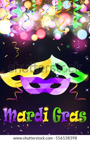 Mardi Gras Festive Carnival Party Mask  with  serpentine ribbon and colorful  sign Mardi Gras on glittering bright bokeh background. Holiday poster or placard template.  illustration