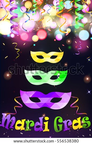 Mardi Gras Festive Carnival Party Mask  with  serpentine ribbon, colorful sign Mardi Gras on glittering bright bokeh background. Holiday poster or placard template.  illustration