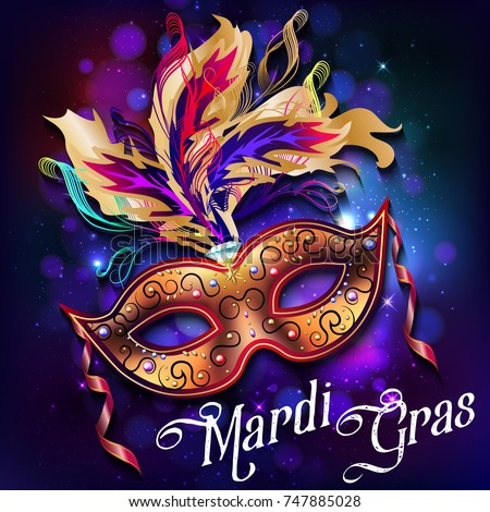 Mardi Gras Mask Colorful Poster Template Stock Vector ...