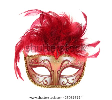 Mardi Gras Mask in Red and Gold - stock photo