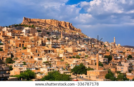 Mardin, a city in south Turkey on a rocky hill near the Tigris River, famous for its Artuqid architecture - stock photo