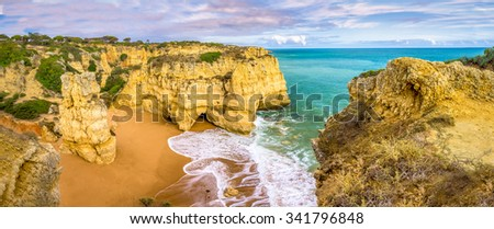 Mare das porcas beach is located in the region of Algarve, Portugal. It is one of the beautiful scenic landscapes of the region. - stock photo