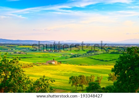 Maremma, rural sunset landscape. Countryside farm and green fields. Elba island on horizon. Tuscany, Italy, Europe.