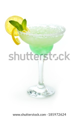 Margarita cocktail in the glass isolated on white