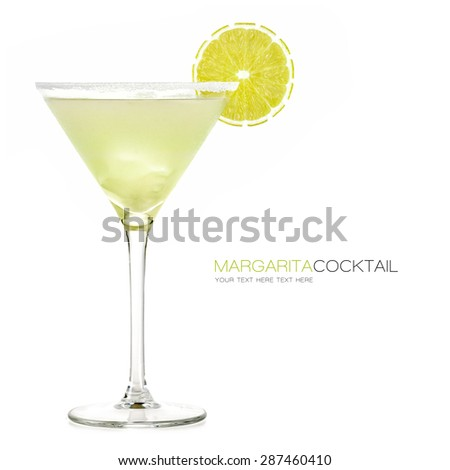 Margarita cocktail isolated on white background. Design template with sample text