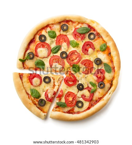 margarita pizza isolated on white background