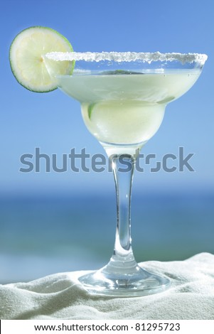 Margarita served with slice of lime and salt on the glass rim