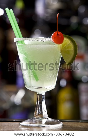 Margaritas with lime Cocktail - stock photo