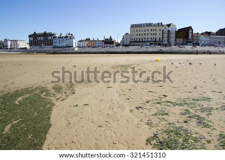 MARGATE, KENT, UK - AUGUST 8. 2015. English seaside town with old fashioned painted houses and shops located in the historic town of Margate, Kent, UK.