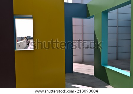 MARGATE, UK-AUGUST 3: Krijn de Koning an international artist, shows his contemporary sculpture, installation, Dwelling,  outside the Turner Contemporary Gallery in Margate. August 3, 2014 Margate UK - stock photo