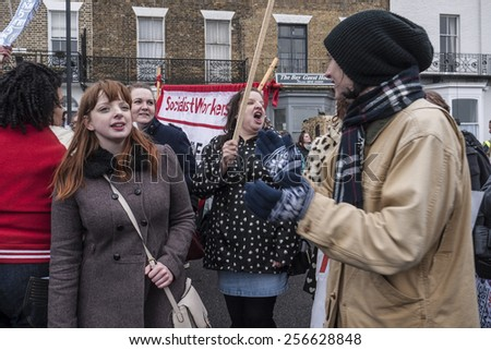MARGATE,UK-FEBRUARY 28: Anti UKIP and racism protesters, with banners, placards and music, march on UKIP'S conference in Margate's Winter Gardens. February 28, 2015 in Margate Kent, UK. - stock photo
