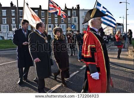 MARGATE,UK-JANUARY 12:  Mayors and Dignitaries parade in the annual Blessing of the Seas ceremony in Margate,lead by Archbishop Gregarios of Thyatreria and Great Britain. January 12,  2014 Margate UK.