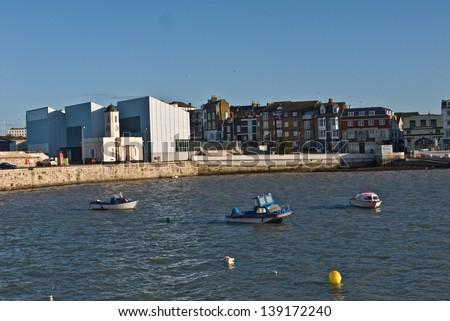 MARGATE,UK-JANUARY 1: The Turner Contemporary Gallery, Droit House and harbour. The Gallery has just celebrated its second year of opening, helping to regenerate the town. January 1, 2013 Margate, UK. - stock photo