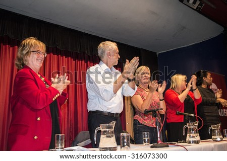 MARGATE, UK-SEPTEMBER 5: Jeremy Corbyn, now Labour Party Leader, applauds members of the rally in the Winter Gardens, Margate. September 5. 2015 in Margate, Kent UK. - stock photo