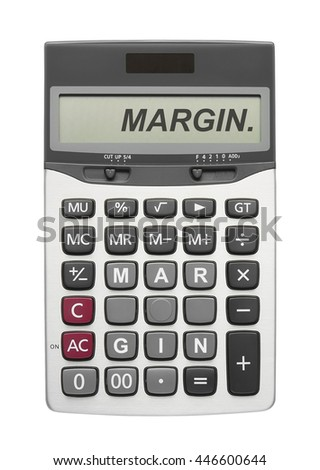 Margin text on calculator button and display, isolated included clipping path - stock photo