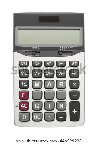 Margin text on calculator button, isolated included clipping path - stock photo