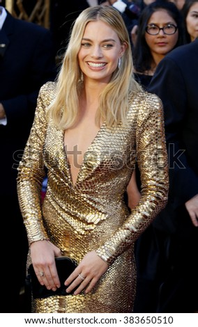 Margot Robbie at the 88th Annual Academy Awards held at the Hollywood & Highland Center in Hollywood, USA on February 28, 2016. - stock photo