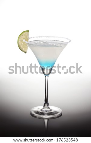 Marguerita cocktail over white background