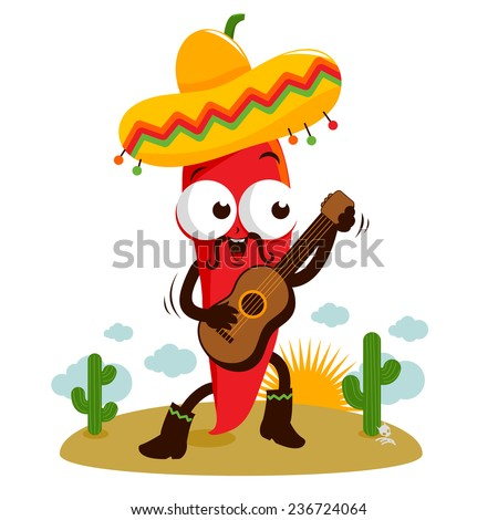 Mariachi chili pepper playing the guitar. Illustration of a happy mariachi chili pepper playing the guitar, singing and dancing in the Mexican desert. Vector version also available in my gallery. - stock photo
