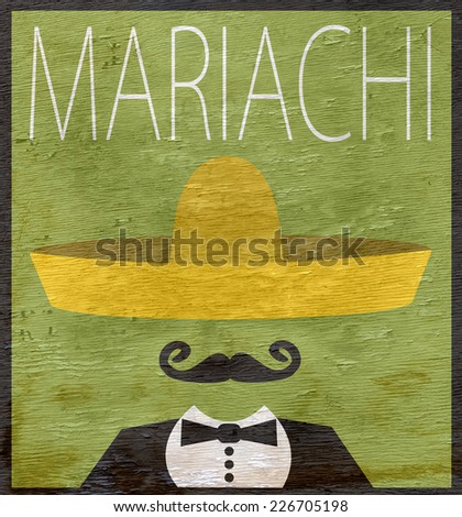 mariachi design with wood grain texture - stock photo