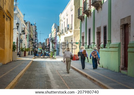 Mariachi on the streets of colonial Campeche city, Mexico  - stock photo