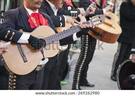 Mariachi spain guitar player - stock photo