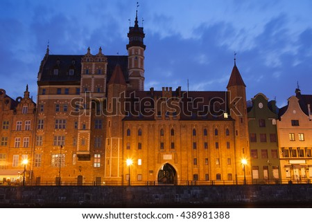 Mariacka Gate at night in Old Town of Gdansk, Poland