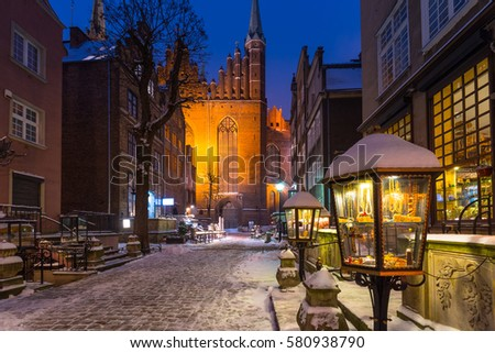 Mariacka street in Gdansk at snowy winter, Poland