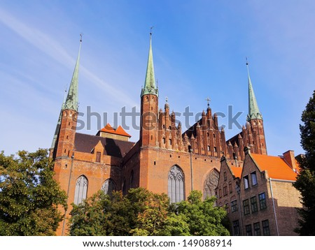 Mariacki Church on the old town of Gdansk - beautiful polish city.