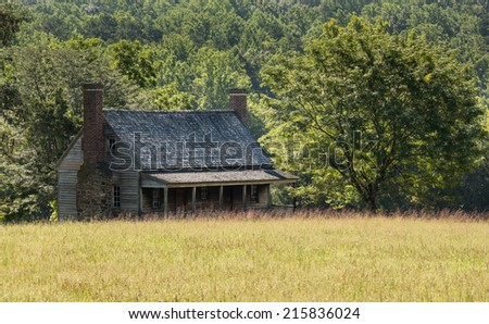 Mariah Wright House at Appomattox National Park is traditional wooden clapboard farmhouse - stock photo